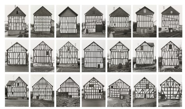 Black and white photo grid by Hilla Becher