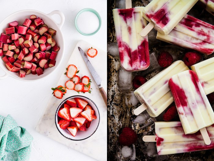 Two images side by side, one of fresh fruit, and the other of fruit ice lollies