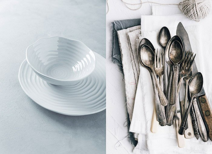 Plate and cutlery on a table