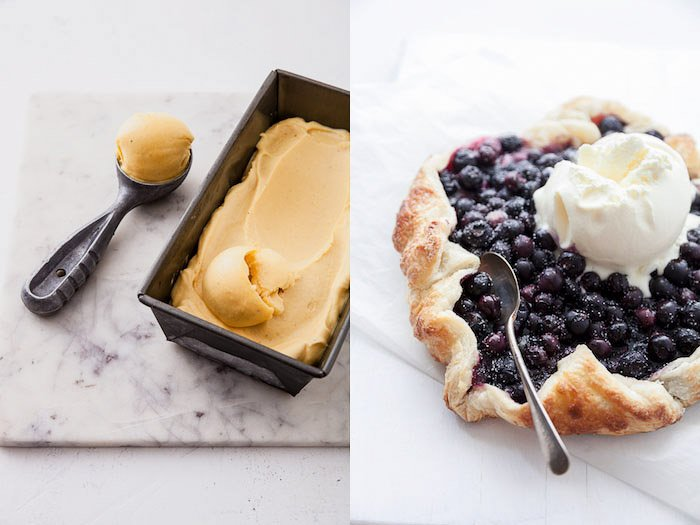 food styling image of ice cream and a blueberry pie