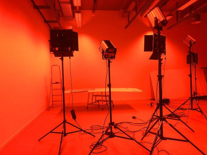 A photography studio in low light