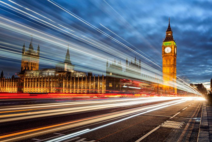 A long exposure low light image of London with the Big Ben