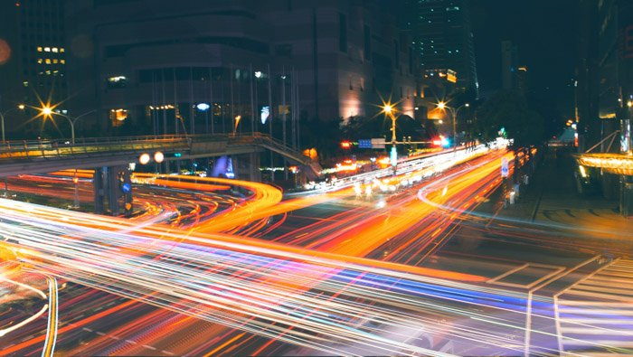 Colorful light trails of traffic