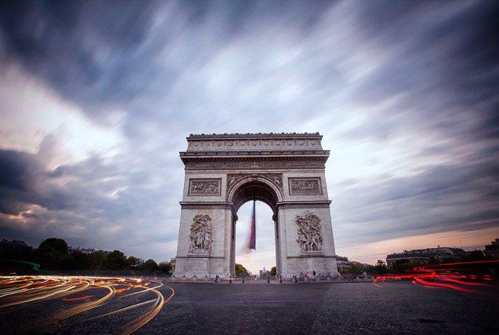 An long exposure image from Paris Arc de Triomph