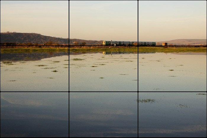 A serene landscape with rule of thirds overlayed - photography composition rules