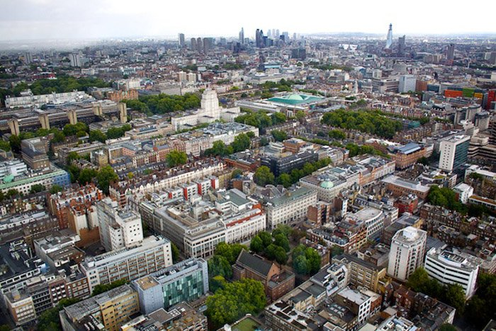 Aerial view of a cityscape  - photography composition rules
