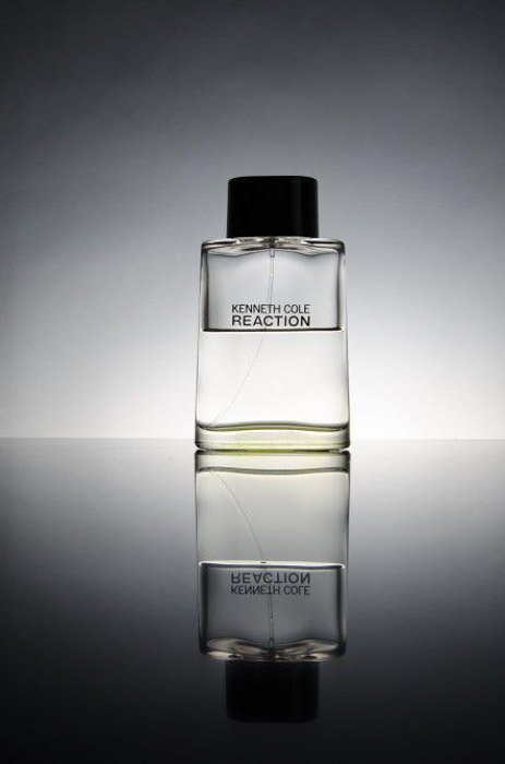 A gradient backdrop on a product shot of perfume