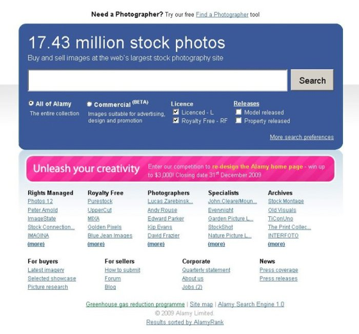 A screenshot from Alamy stock photography agency website