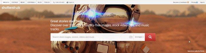 a screenshot from Shutterstock stock photography website