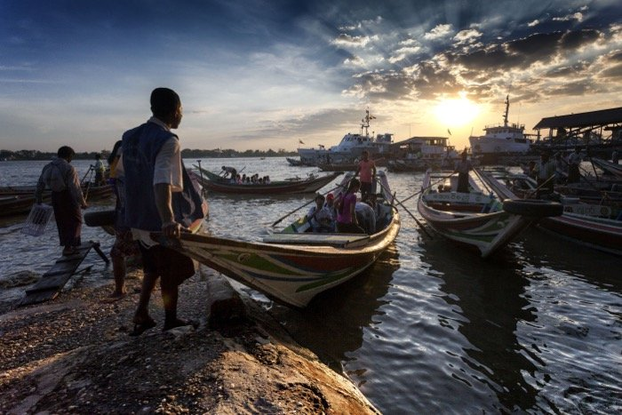 travel photography image of fishermen from India