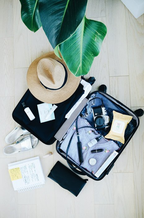 packed suitcase for travel photographers before travel