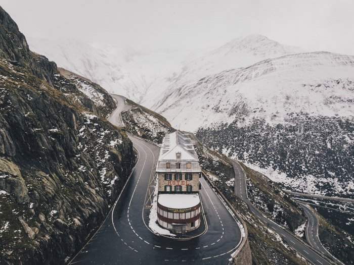 Travel photography image of snowy mountains and road