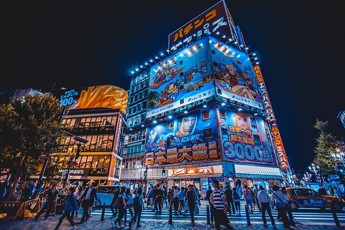 A travel photography image from Japan neon billboards at night