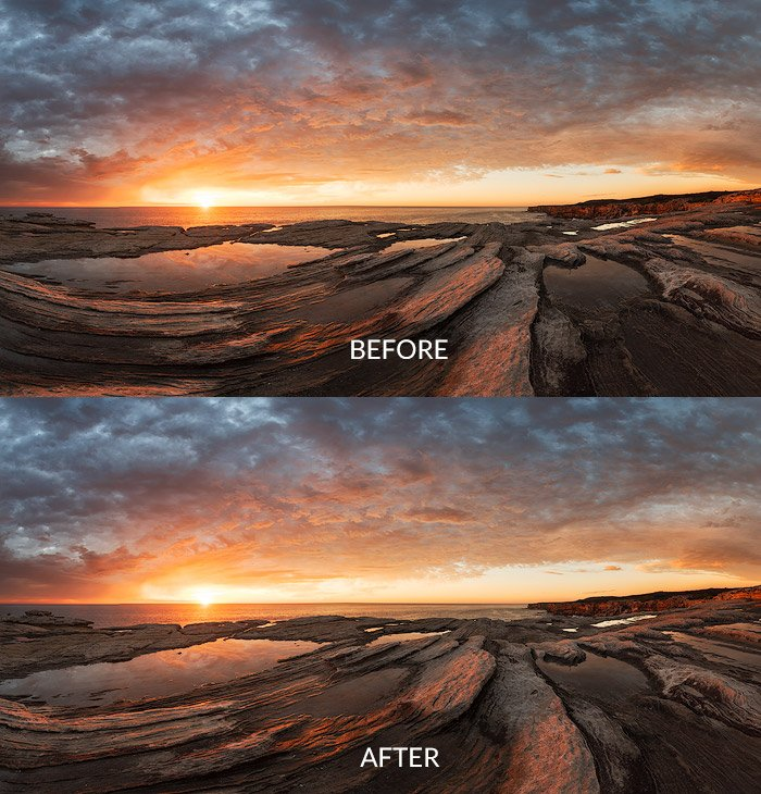 warp transformation before after