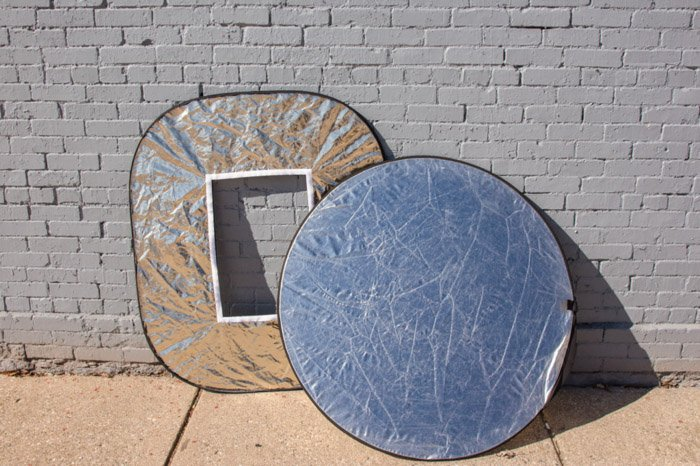 Two photography reflectors