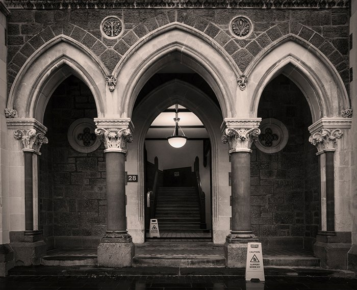 The entrance to the Gothic Revival-inspired Arts Centre, designed by architect William Armson. Christchurch, New Zealand.