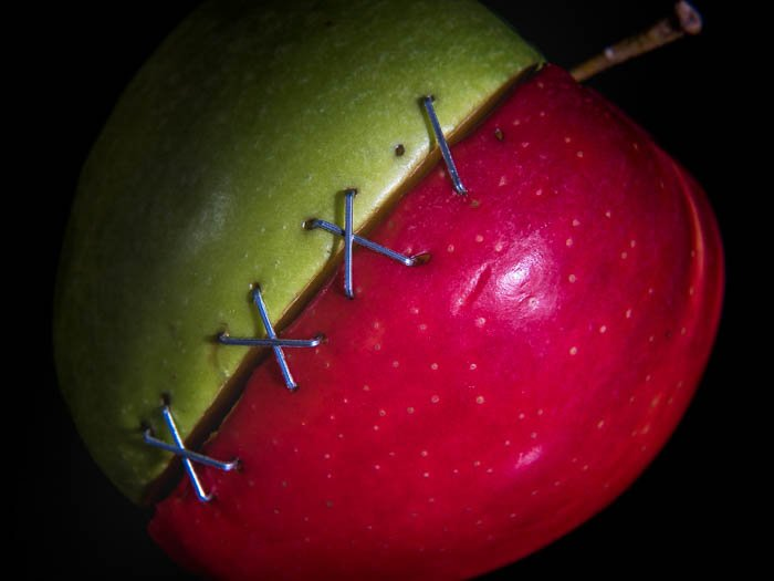 Two half apples sewed together - Macro photography tips