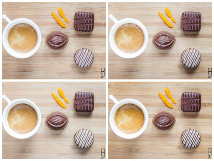 Collage of pictures depicting a cup of coffee with pralines on a wooden plate