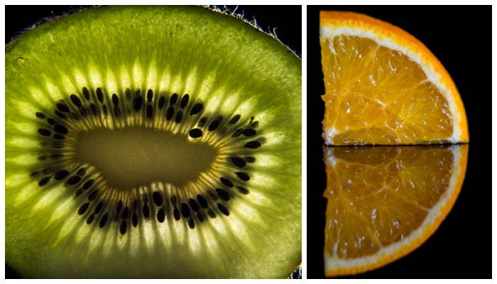 A collage of a picture of a half kiwi and an orange slice