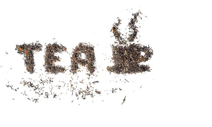 creative food phtoography with tea leaves