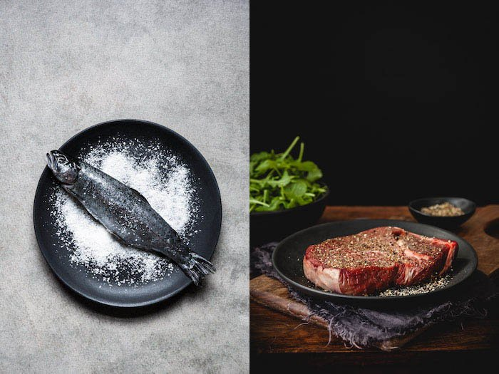 food styling fish and meat
