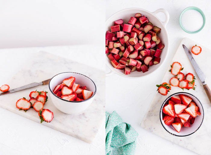 strawberries and rhubarb food photography