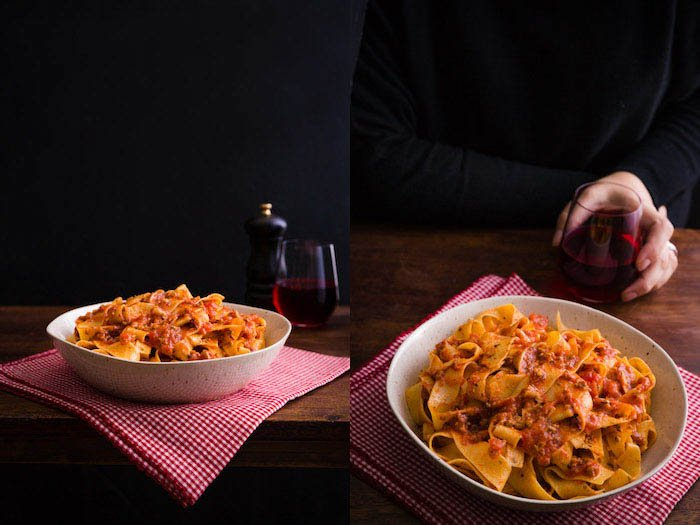 pasta bolognese food photography