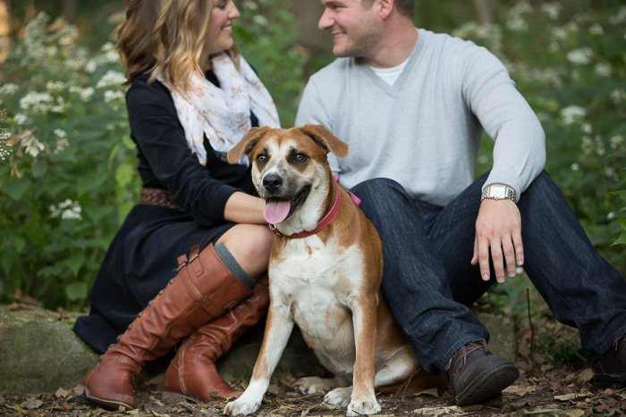 Outdoor engagement photo showing a couple sitting down in the park with their dog and smiling at each other