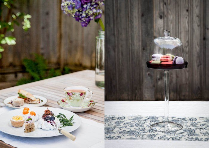 food photography of a bright spring tea afternoon with macaroons
