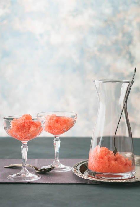 watermelon granita in glasses and jug