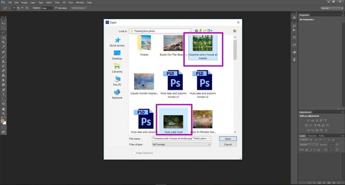 A screenshot showing how to turn photo into a painting with photoshop - select image