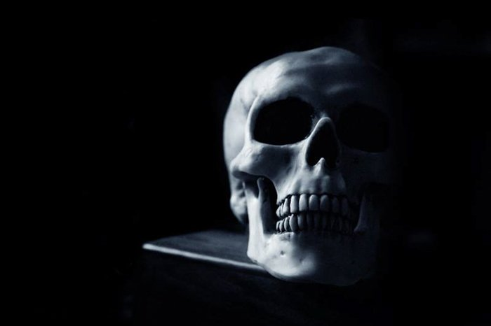 A photo of a skull in the dark