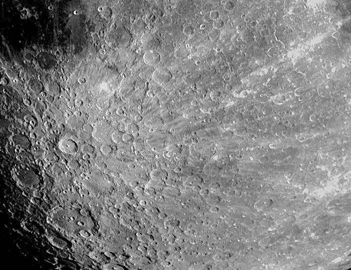 Close up of the surface of the moon
