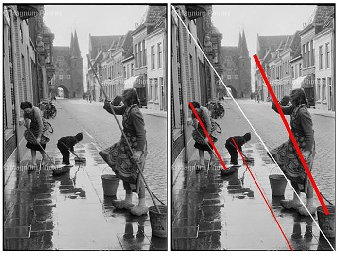 Diptych street scene photo pointing out Henri Cartier Bressons photography composition technique