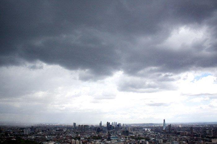 Stormy sky over a city