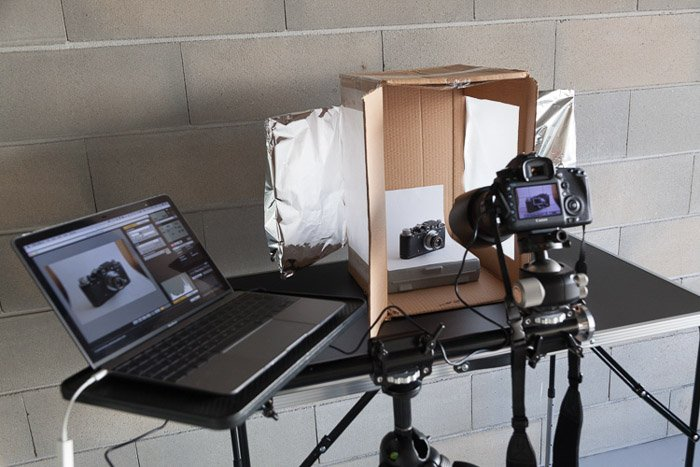 A homemade lightbox set up for a product photo shoot