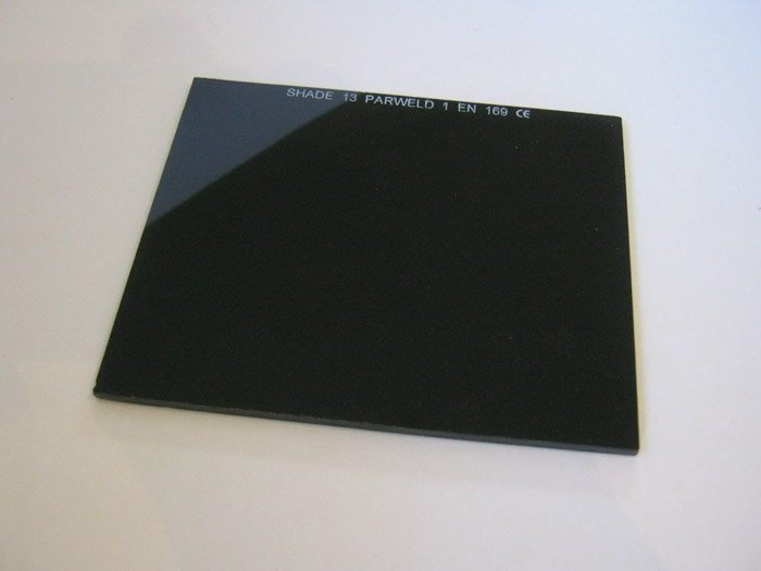 A welding glass used as a DIY photography neutral density filter
