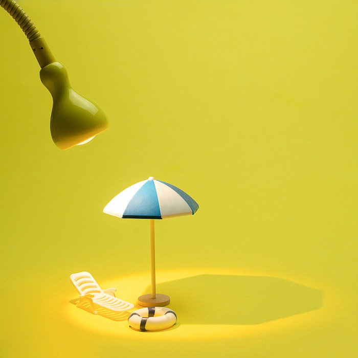 Cool product photo set up on yellow background