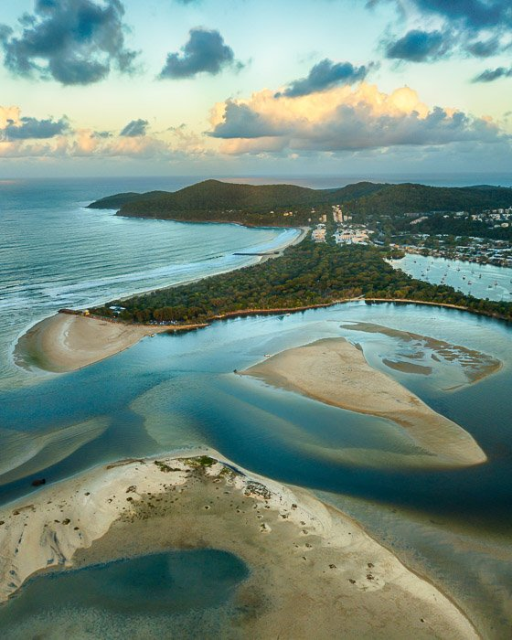 exposure bracketing drone photography view of a seascape and coastal landscape