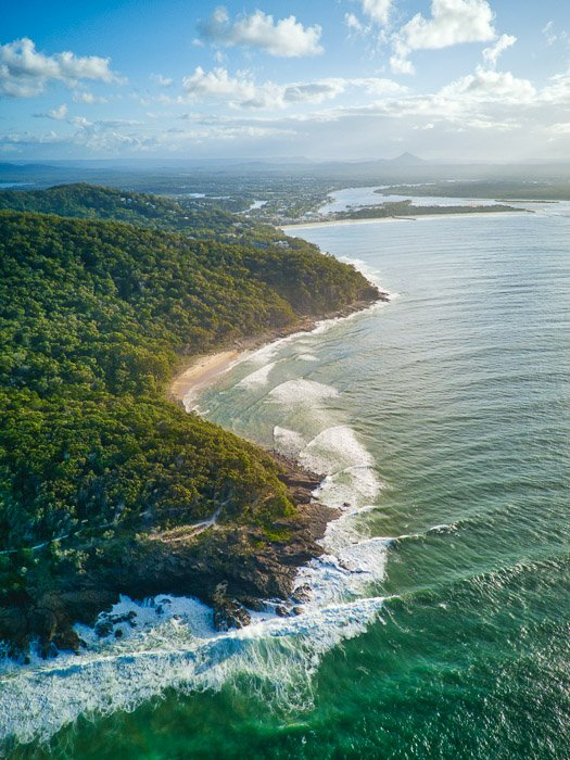 drone photography view of a sunny coastal landscape