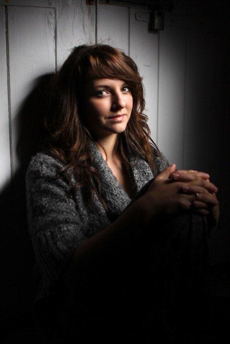 A portrait of a female model