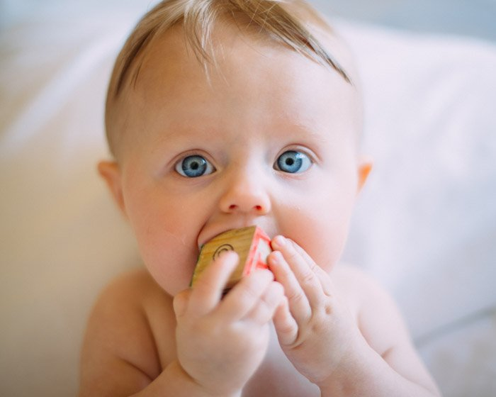 A portrait of a baby chewing a wooden block