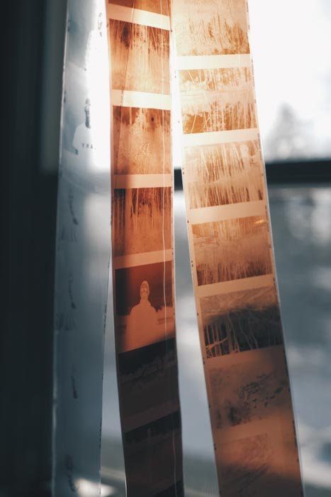 Three strips of film photography negatives