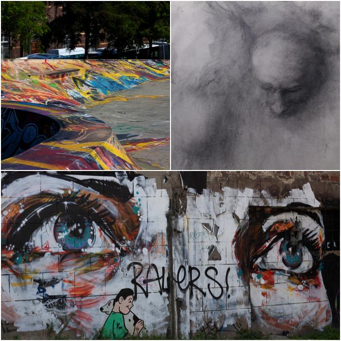 three photographs of urban graffiti