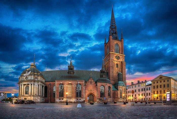 Dramatic HDR image of Riddarholmen Church, Stockholm, Sweden