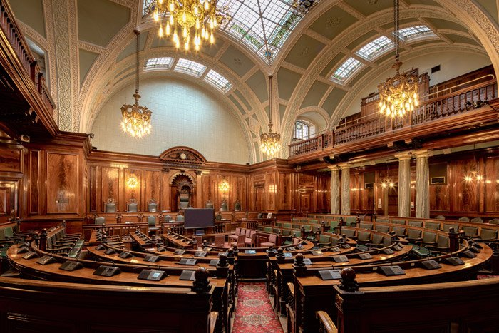 Interior photo of a courtroom