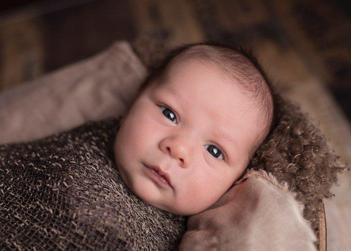 A close up portrait of a newborn baby