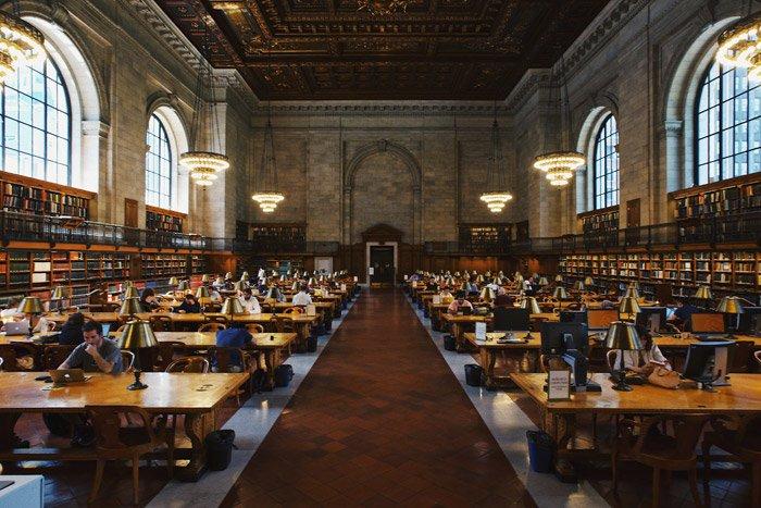 Interior shot of Mid-Manhattan Library