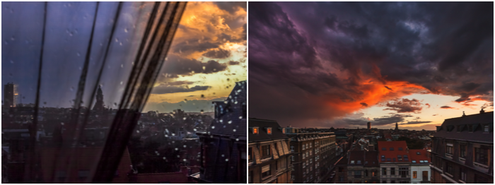 2 photos showing dramatic weather and coloured clouds over an urban cityscape