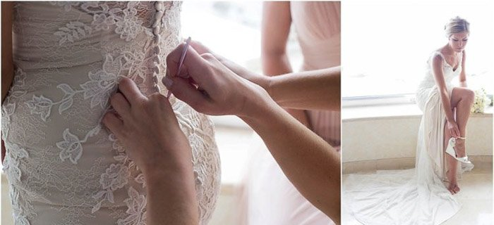 Diptych photo collage of a bride peparing for the wedding. Amateur wedding photography.